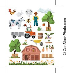 Farm, low poly set of vector icons