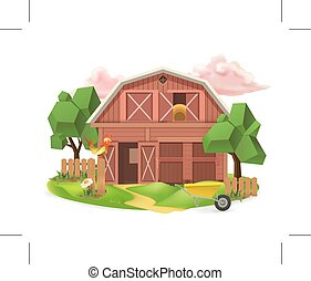 Farm, low poly vector icon