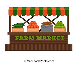 Farm market vending wooden booth stall. Vector isolated flat icon of fruit or vegetable farmer vendor stall counter with awning roof
