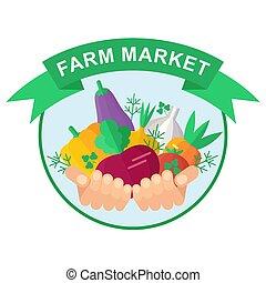 farm market logo - Farmer holding rich harvest in hands. ...