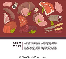 Farm meat and sausages products vector poster for butchery...