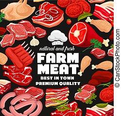 Farm meat products, butcher shop sausages - Farm butcher...