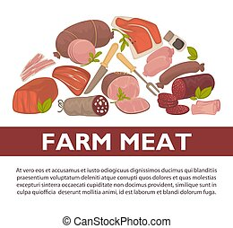 Farm meat sausages and delicatessen vector poster - Meat...