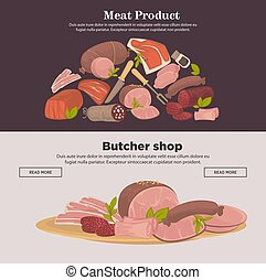 Farm meat sausages and delicatessen vector web banners - ...