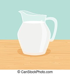 Farm milk carafe on the table