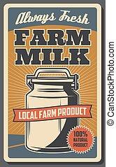 Farm milk from cow. Dairy food, organic farming