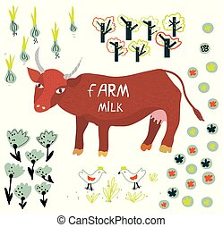 Farm milk poster or label with cow illustration