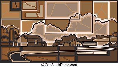 Farm mosaic - Editable vector mosaic illustration of a...