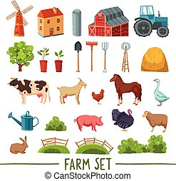 Farm multicolored icon set with house barn tractor tree haystack cattle poultry garden tools isolated vector illustration