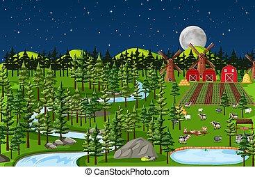 Farm nature landscape at night scene