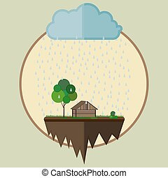 farm oasis - Flying island with a house and tree as farm...