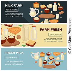 Farm of fresh milk promotional Indernet banners set - Farm...