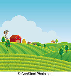 Farm on Hill with Green Field Background