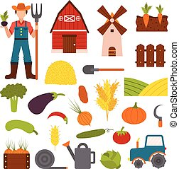 Farm organic food agriculture in village elements vegetables, fruits, hay, farm building, animals, farmer, tractor, tools vector.