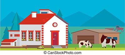 Farm panoramic landscape