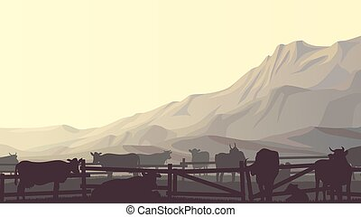 Farm pets in background mountains. - Horizontal vector...