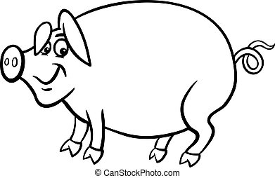 farm pig cartoon for coloring book
