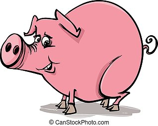 farm pig cartoon illustration - Cartoon Sketch Illustration...