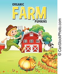 Farm poster design with farmer and animals