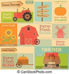 Farm Posters - Farm. Set Mini Posters in Flat and Retro...