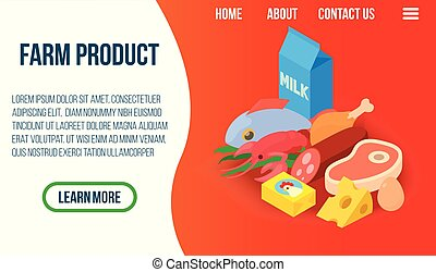 Farm product concept banner, isometric style