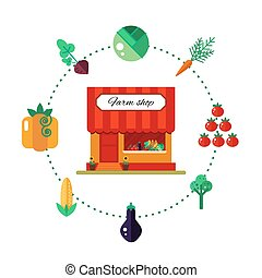 Farm product shop in flat style - vector illustration stock. Market icon with showcases isolated on white background.
