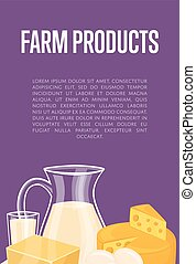 Farm products banner with dairy composition