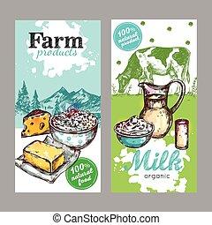 Farm Products Milk Banner Set