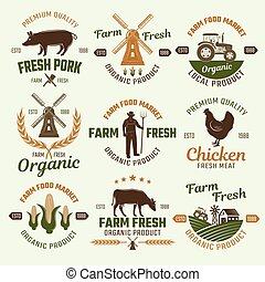 Farm Products Retro Style Emblems