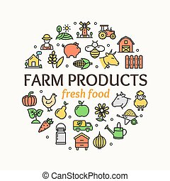 Farm Products Round Design Template Thin Line Icon Concept. Vector