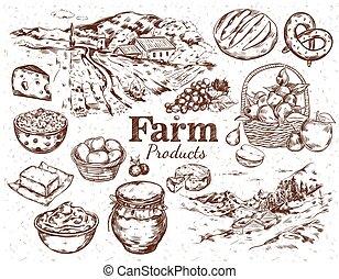 Farm Products Sketch Set