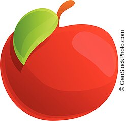 Farm red apple icon, cartoon style