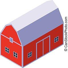Farm red barn icon, isometric style