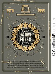 Farm retro poster. Vector sunflower and harvester - Farming,...