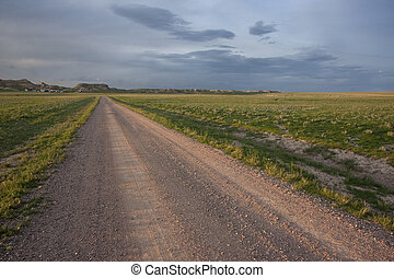 farm road in Pawnee Grassland, Colorado