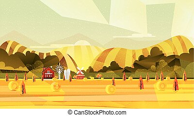 Farm, rural landscape vector background