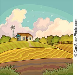 Farm rural landscape with field.