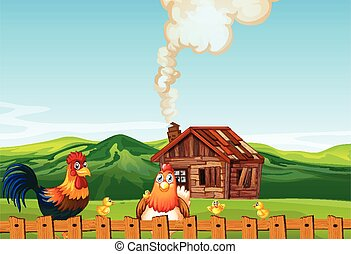 Farm scene in nature with barn and chicken