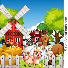 Farm scene in nature with barn and windmill and animal farm