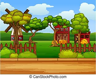 Farm scene in nature with barn and windmill illustration