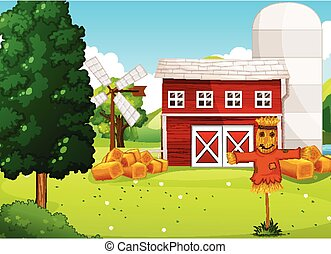 Farm scene in nature with farm factory and scarecrow