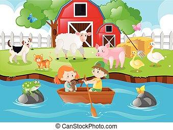 Farm scene kids rowing boat in river illustration