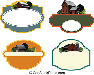 Farm Scene Labels - A collection of four labels each...
