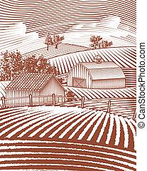 Farm Scene Landscape - Woodcut style illustration of a rural...