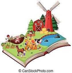 Farm scene pop up book