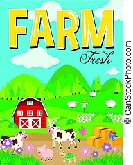 Farm scene with animals and barn