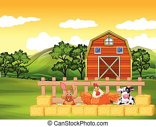 Farm scene with animals and barn on the farm