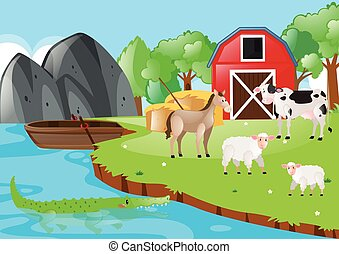 Farm scene with animals by the river