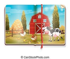 Farm scene with animals in the book
