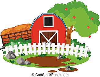 Farm scene with barn and apple tree